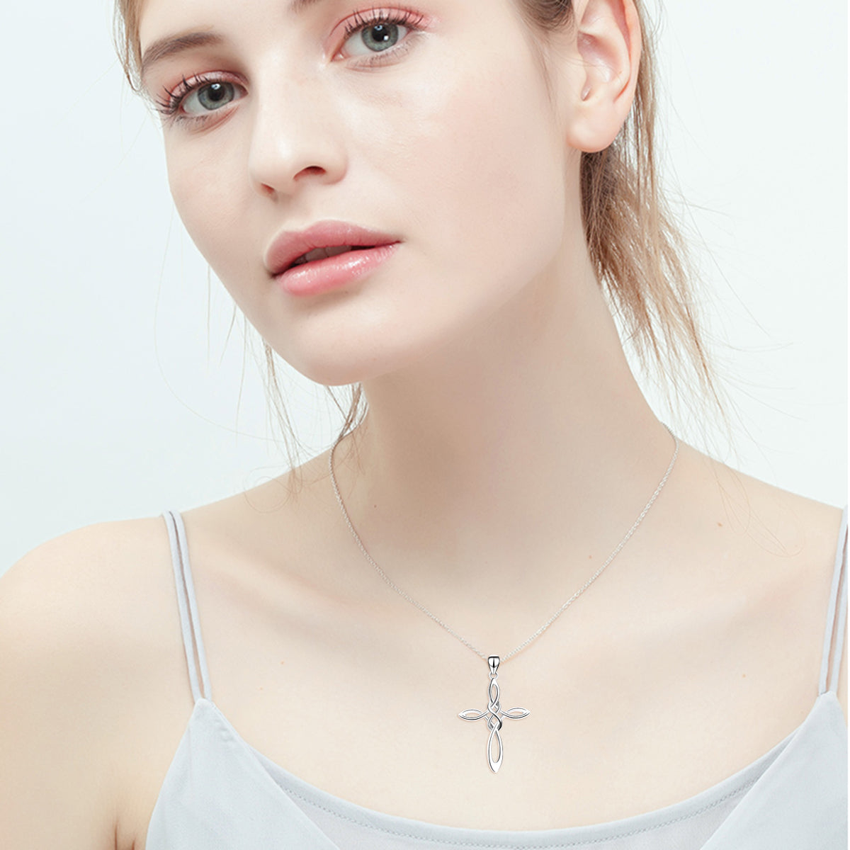Rhodium Plating and Chains Cross Necklace Wedding Jewelry