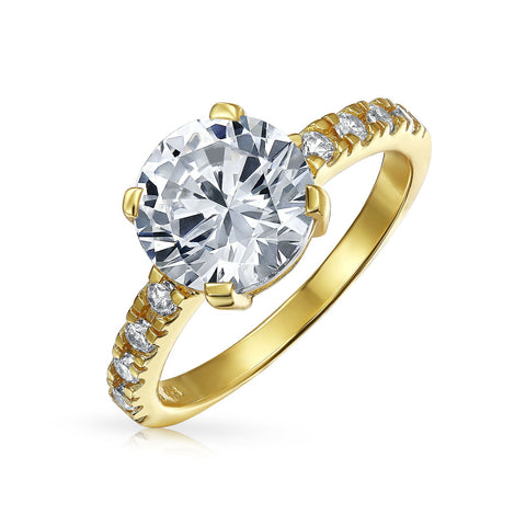 4CT Round Brilliant Solitaire CZ Cubic Zirconia Engagement Ring Thin Pave Band Sterling Silver
