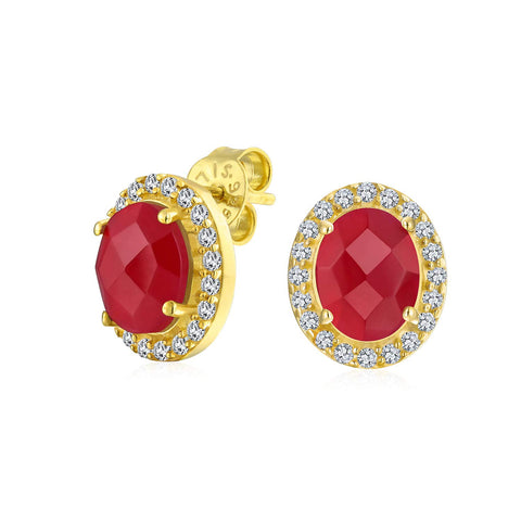 2.3CT Pave CZ Halo Created Gemstones Oval Stud Earrings Women 14K Gold Plated Sterling Silver