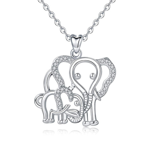 S925 Sterling silver CZ Lucky Elephant Animals Necklace Pendant For women