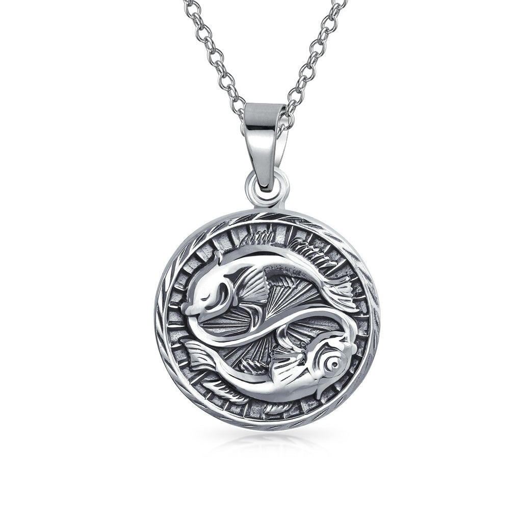Astrology Horoscope Disc Medallion Pendant Necklace Zodiac Sign For Men For Women Antiqued 925 Sterling Silver 12 Signs