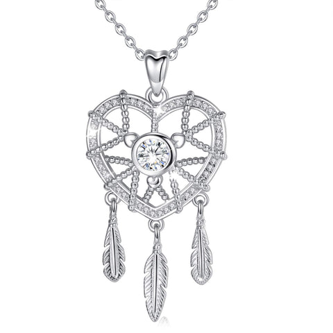 S925 Sterling Silver Dreamcatcher-Heart Necklace Pendant For Women