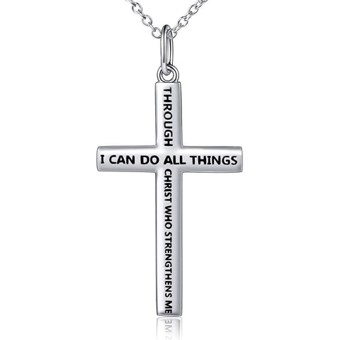 S925 Sterling Silver Classic Cross Inspirational Pendant Necklace