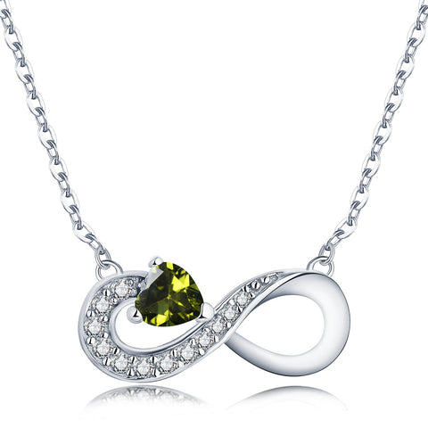 925 Sterling Silver Infinity Heart Cubic Zirconia Friendship Pendant Necklace
