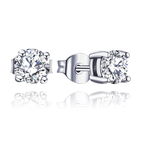 14K White Gold 1ct Forever One Moissanite Stud Earrings