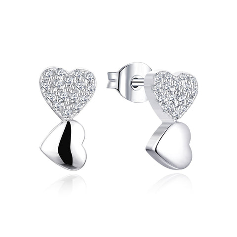 Diamond Heart Stud Earrings for Women in 14K White Gold