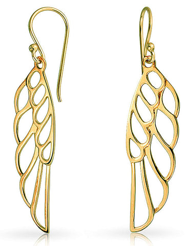 Religious Dangle Angel Wing Feather Earrings For Women For Teen 925 Sterling Silver French Wire
