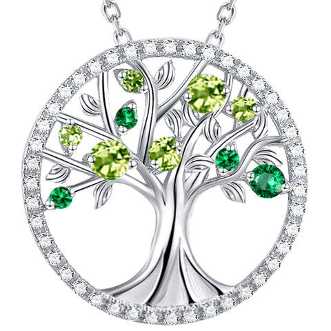 Birthday Gifts Mom Wife Green Peridot Necklace Tree of Life Emerald Necklace for Women Teen Girls Family Sterling Silver Fine Jewelry