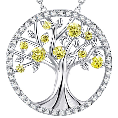 November Birthstone Necklace Yellow Citrine Birthday Jewelry for Women Teens Mom Wife Anniversary Gifts for Her Tree of Life Jewelry Sterling Silver