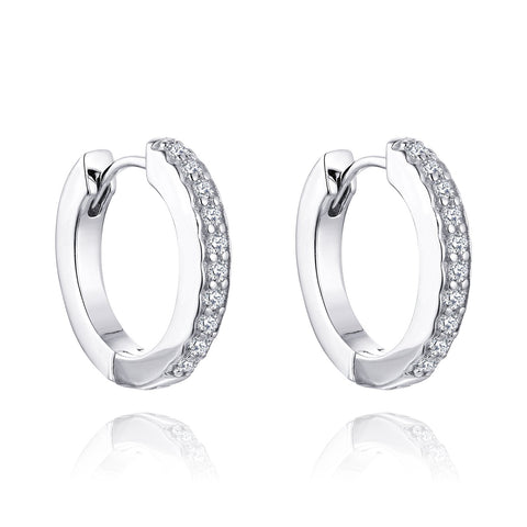14k White Gold Diamond Small Hoop Earrings