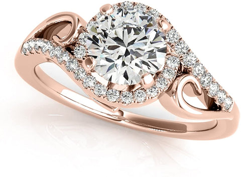 4 Prong 14K Gold  0.5 Ct.  Unique Round Cut Antique Diamond Engagement Ring for Ladies With 1/2 ctw Genuine Diamond