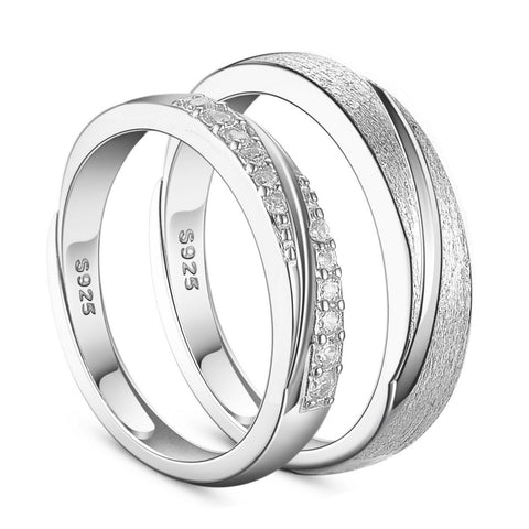 Couple Rings Engraved Frosted