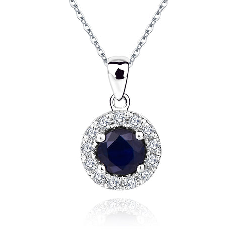 14K White Gold Natural Blue Sapphire Round Cut and White Diamond Halo Pendant Necklace