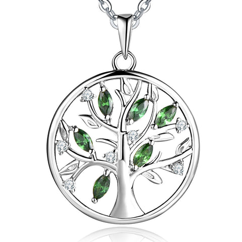 925 Sterling Silver Cubic Zirconia Tree of Life Family Pendant Necklace