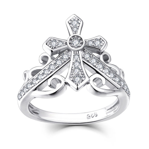 925 Sterling Silver Cubic Zirconia Cross Crown Promise Ring