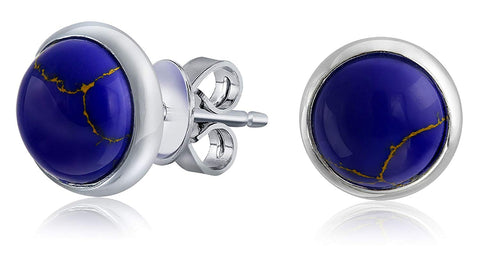 Simple Gemstone Bezel Set Round Dome Button Stud Earrings For Women 925 Sterling Silver