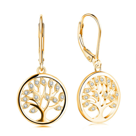 925 Sterling Silver Cubic Zirconia Tree of Life Earrings