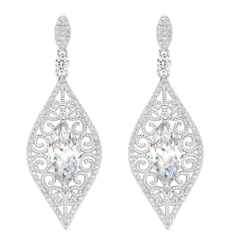 Art Deco Vine Bridal Chandelier Drop Earrings