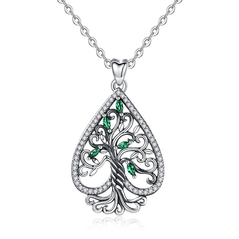S925 Sterling Silver CZ tree of life-heart-shape Necklace for Women