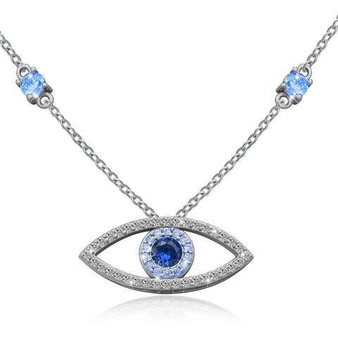 Evil Eye Jewelry Blue White CZ Pendant