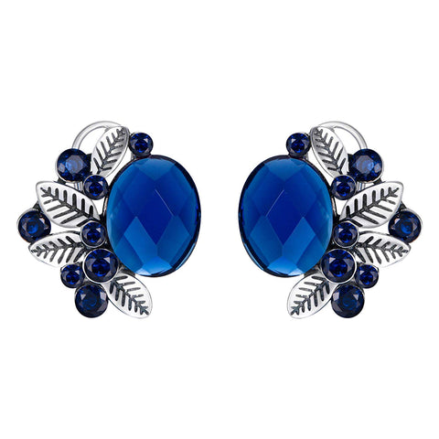 Flower Leaf Oval Shaped Stud Earrings