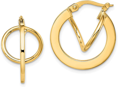 Unique Double Hoop Earrings in 14k Gold For Loverly People