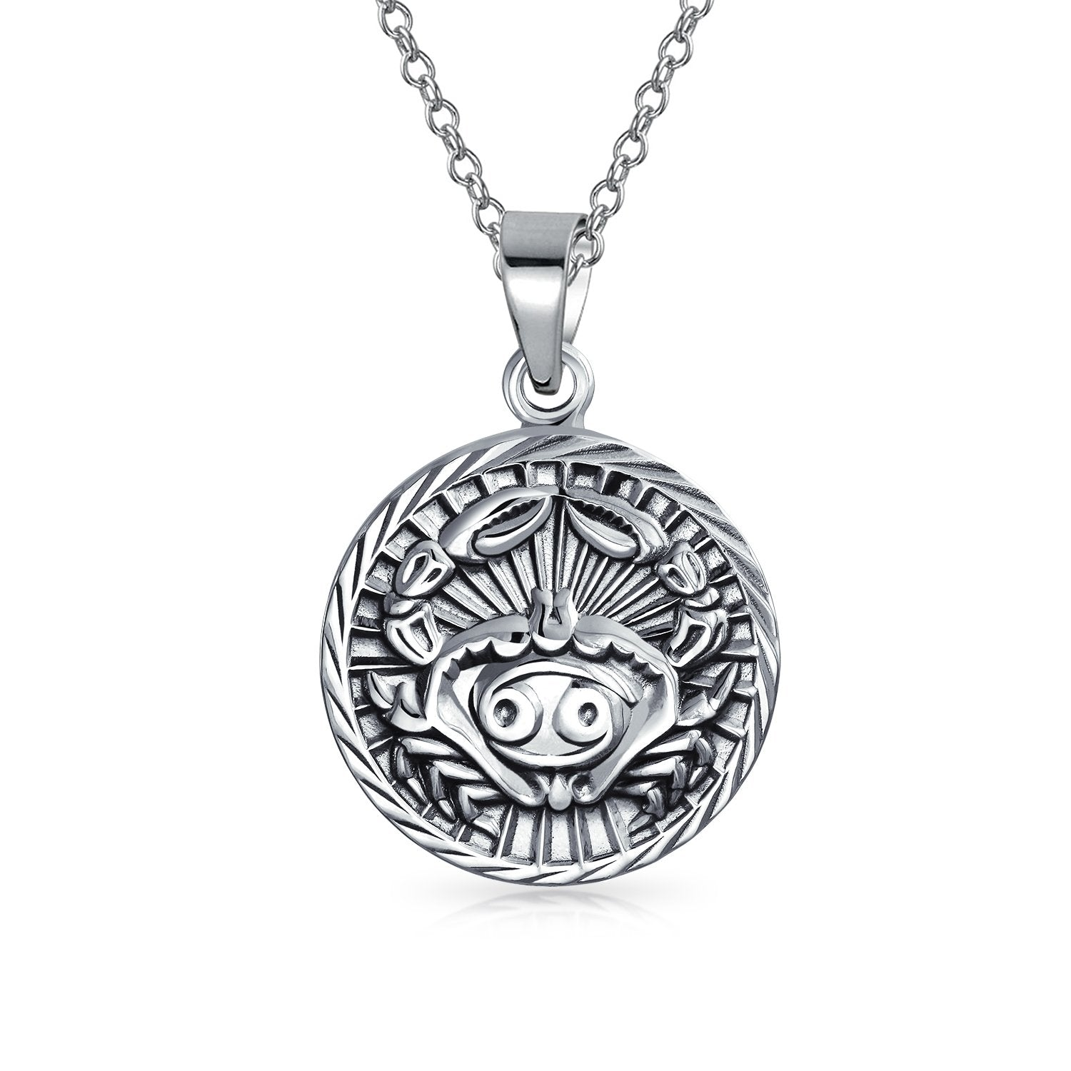 Zodiac Sign Astrology Horoscope Round Medallion Antiqued Sterling Silver Pendant For Men Women Necklace