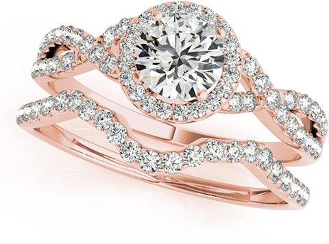 0.50 Carat |14K Gold Round Cut Unique Diamond Bridal Ring and Band Set for Ladies in Wedding/Engagement