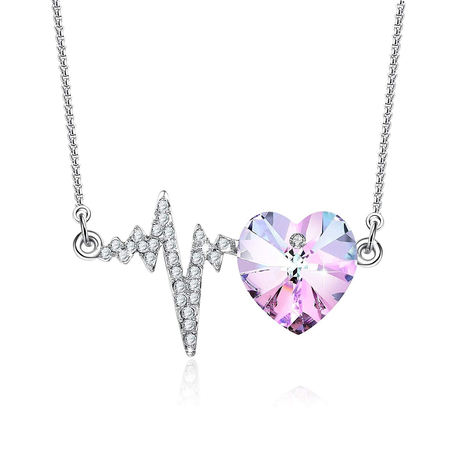 Crystal Pendant Necklace for Women Love Heart Necklace Crystal from Swarovski, Brides Bridesmaids Jewelry Gifts