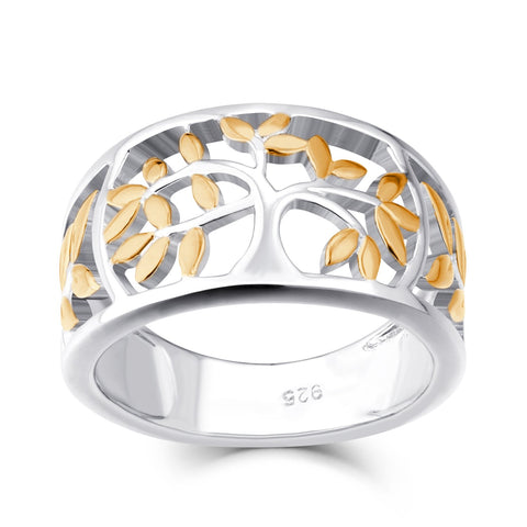 925 Sterling Silver Gold Tree Of Life Ring Anniversary Rings