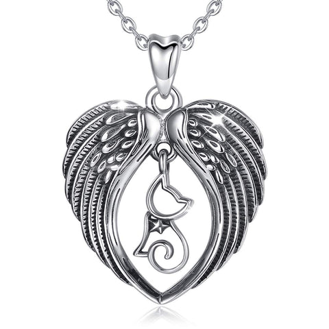 925 Sterling Silver Cute cat & Angel Wing Pendant Necklace for Cat Lover