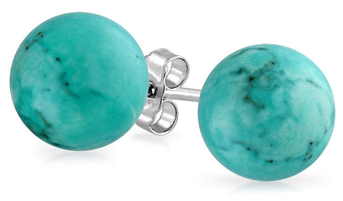Gemstone Round Ball Stud Earrings For Women For Teen 925 Sterling Silver