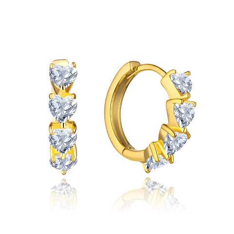 14k Gold Hoop Earrings with Heart Shaped Moissanite Diamond Earrings