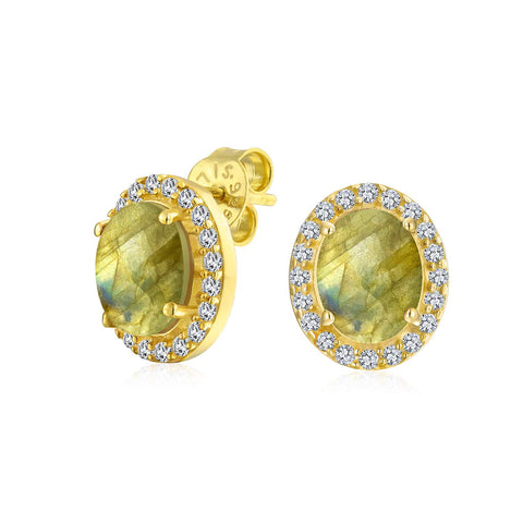 2.3CT Pave CZ Halo Created Gemstones Oval Stud Earrings Women 14K Gold Plated Sterling Silver More Birthstone
