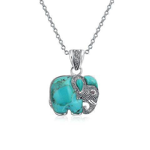 Bali Style Gemstone Blue Lapis Rhodolite Turquoise Dyed Jade Elephant Pendant Necklace For Women 925 Sterling Silver