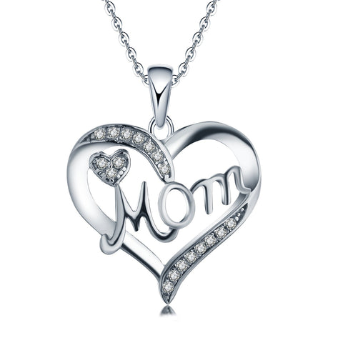 925 Sterling Silver Cubic Zirconia Heart Mom Pendant Necklace Mother's Gift