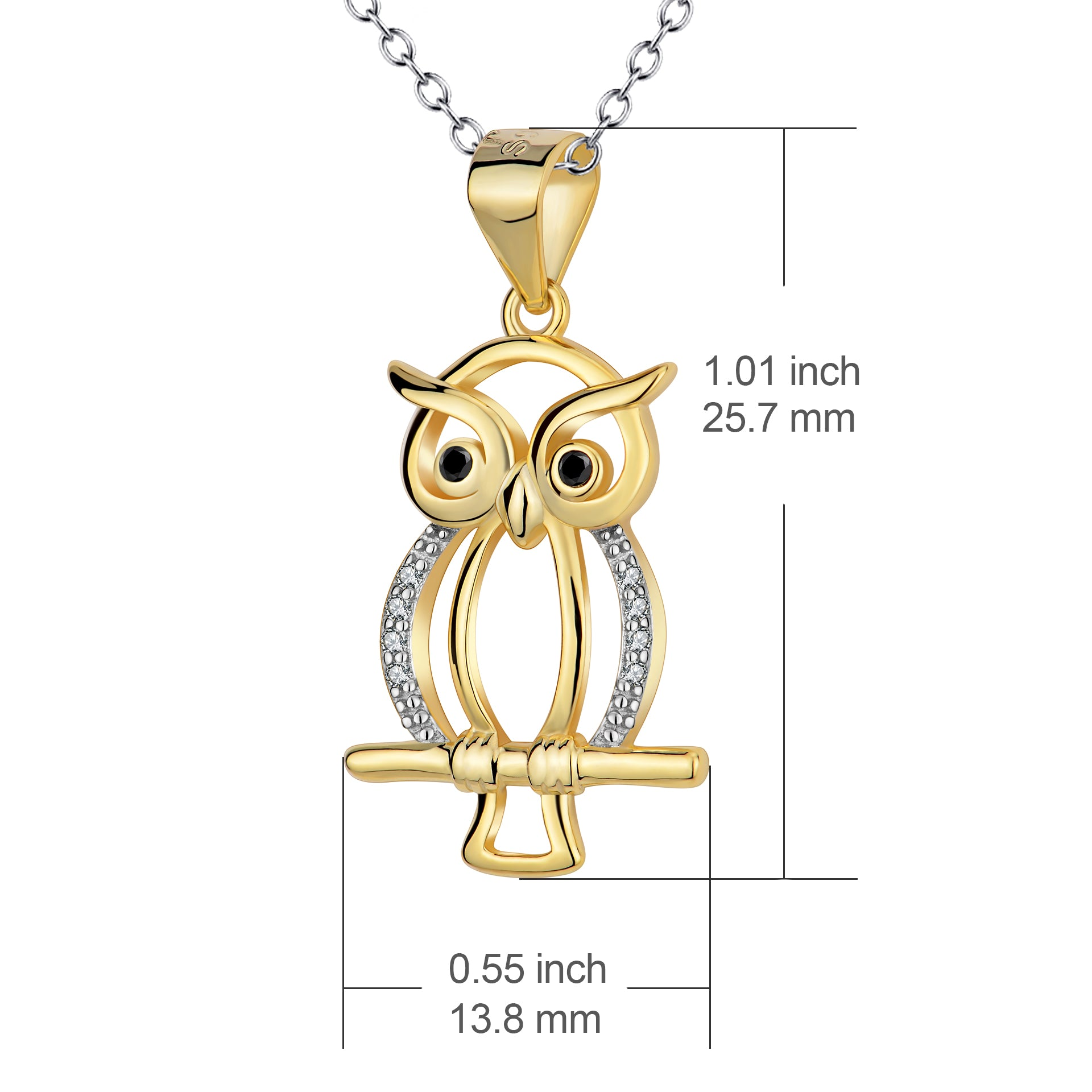 Animal Owl Yellow Gold Pendant Design 925 Sterling Silver Pendant