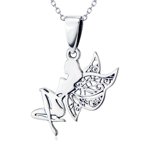 Girl With Wings Shaped Necklace Factory 925 Sterling Silver Necklace