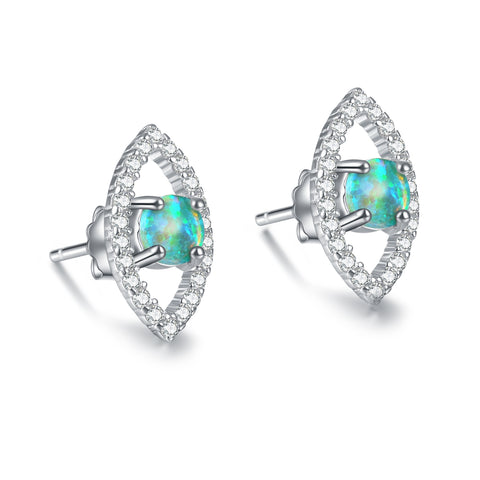 Elegant Women Jewelry Colorful Opal 925 Sterling Silver Stud Earring