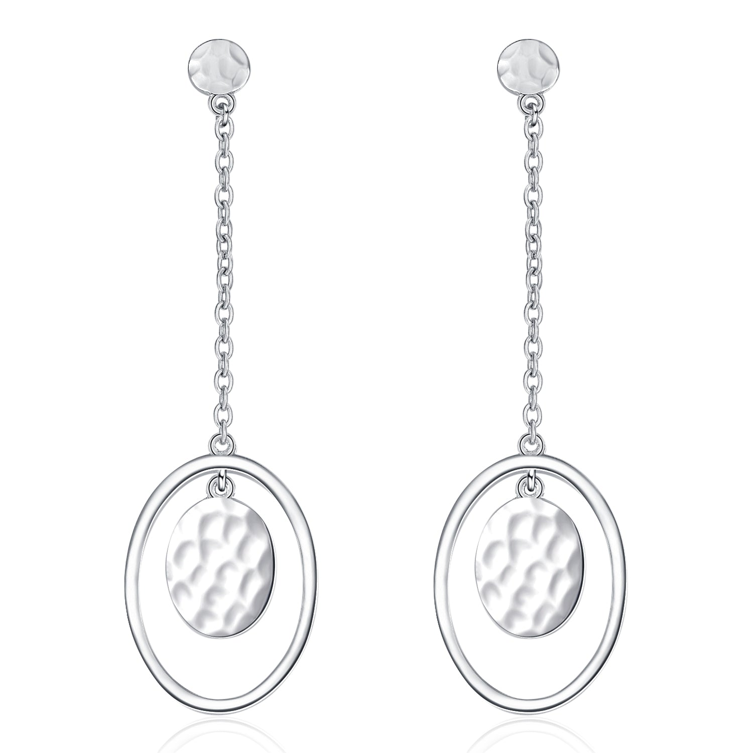 Bump Oval Eardrop Dangle Earrings Long Pendant Silver Earrings