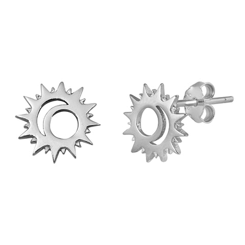 Silver Sun & Moon Stud Earrings