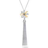 Flower Rare Crystal  Fringed Sweater Chain Tassel Necklace Wholesale