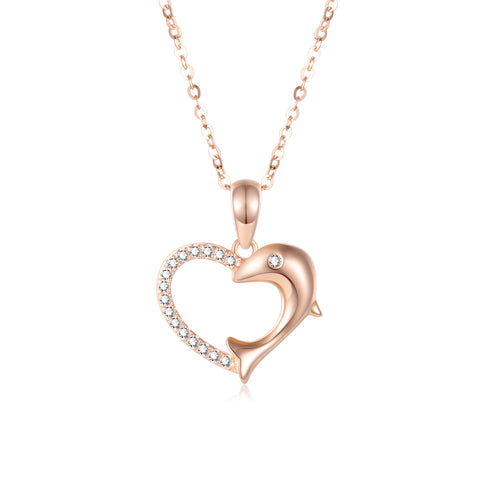 Europe And America Hot Sale 18K Gold Dolphin Love Zircon Necklace