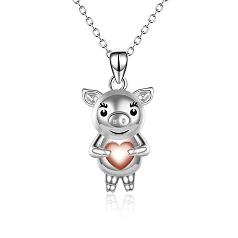Silver Cute Pig Hold Rose Gold Plated Heart Pendant