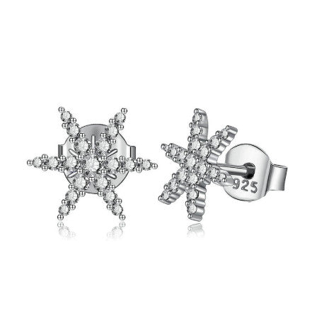 Unique Cubic Zirconia Snowflakes shape Stud Earring