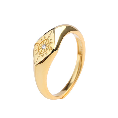 925 Sterling Silver Ring Engraved Gold-Plated Ring Personality Geometric Design Metal Sense
