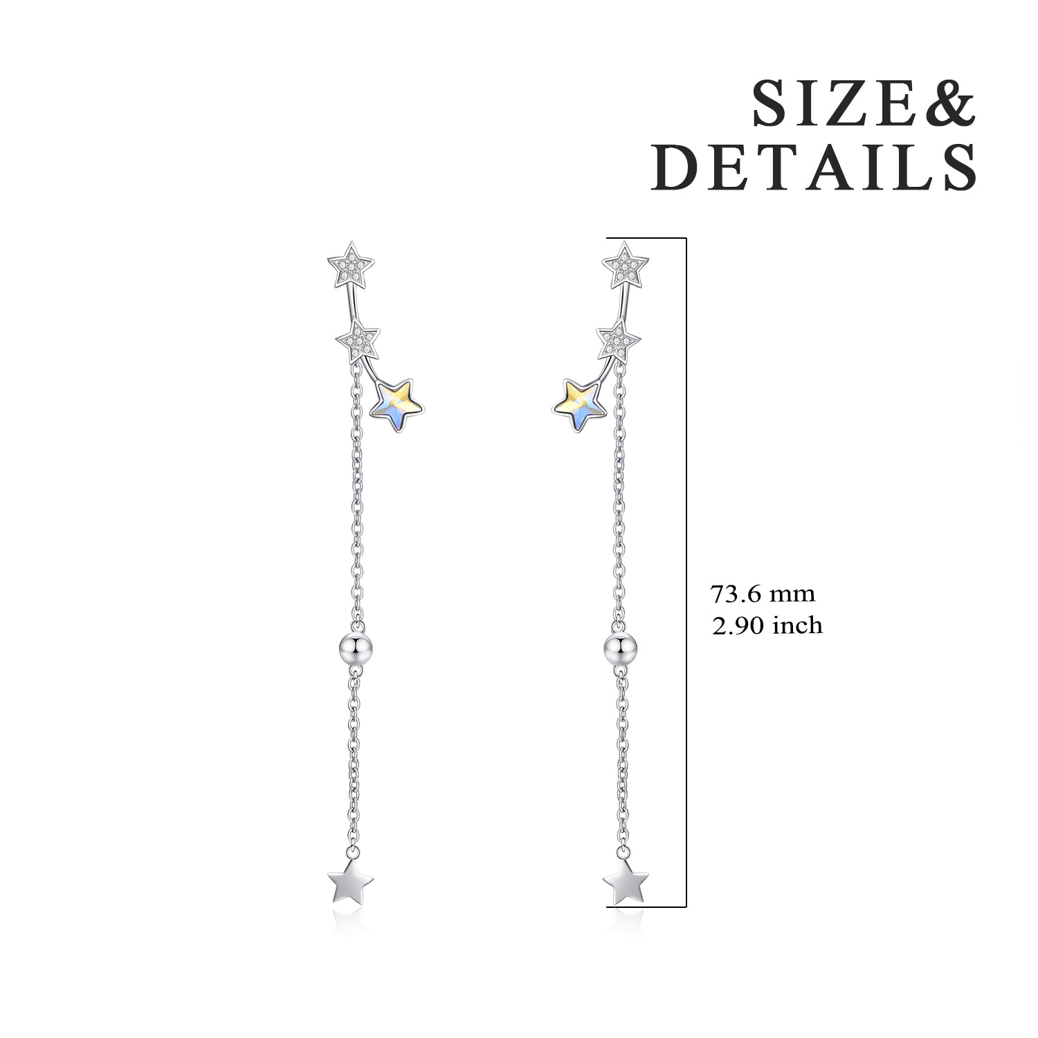 Long Chain Five Point Star Earrings High Quality Crystal Star Earrings