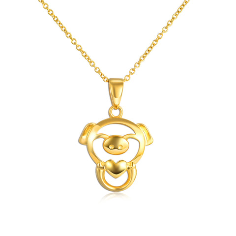 18K Gold Fashion Pig Hollow Pendant Necklace