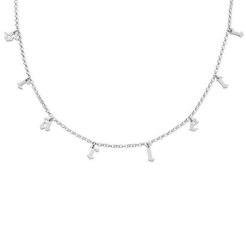 Choker Name Necklace 925 Sterling Silver Name plate with Gothic Font
