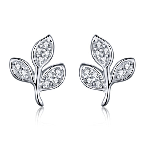 Tree of Life Dazzling CZ Tree Leaves Stud Earrings